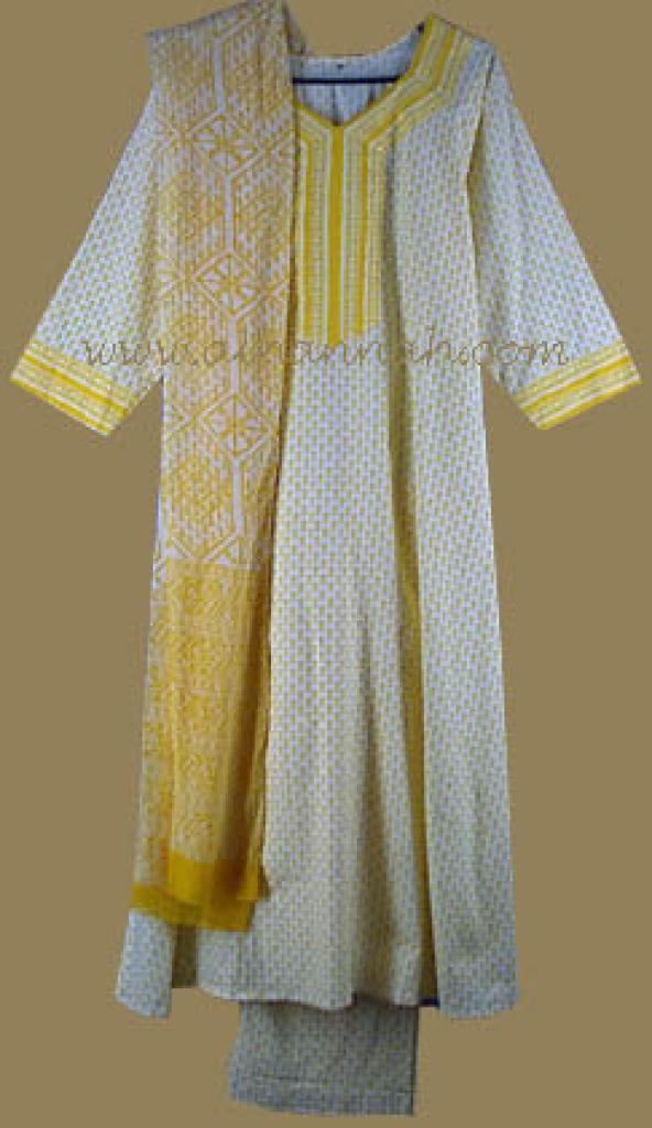 Traditional Yellow Print Salwar Kameez  sk487