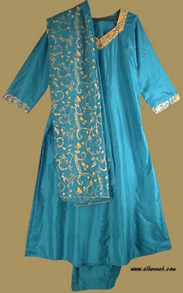Golden Embroidered Silk Salwar Kameez  sk724