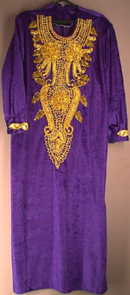 Purple Velvet Sequined and beaded Thobe  sr127