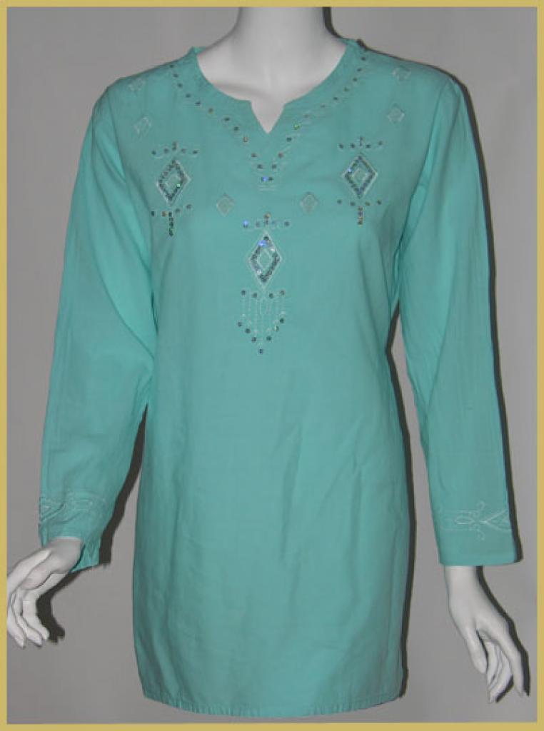 Embroidered Cotton Kurta Tunic Top st507