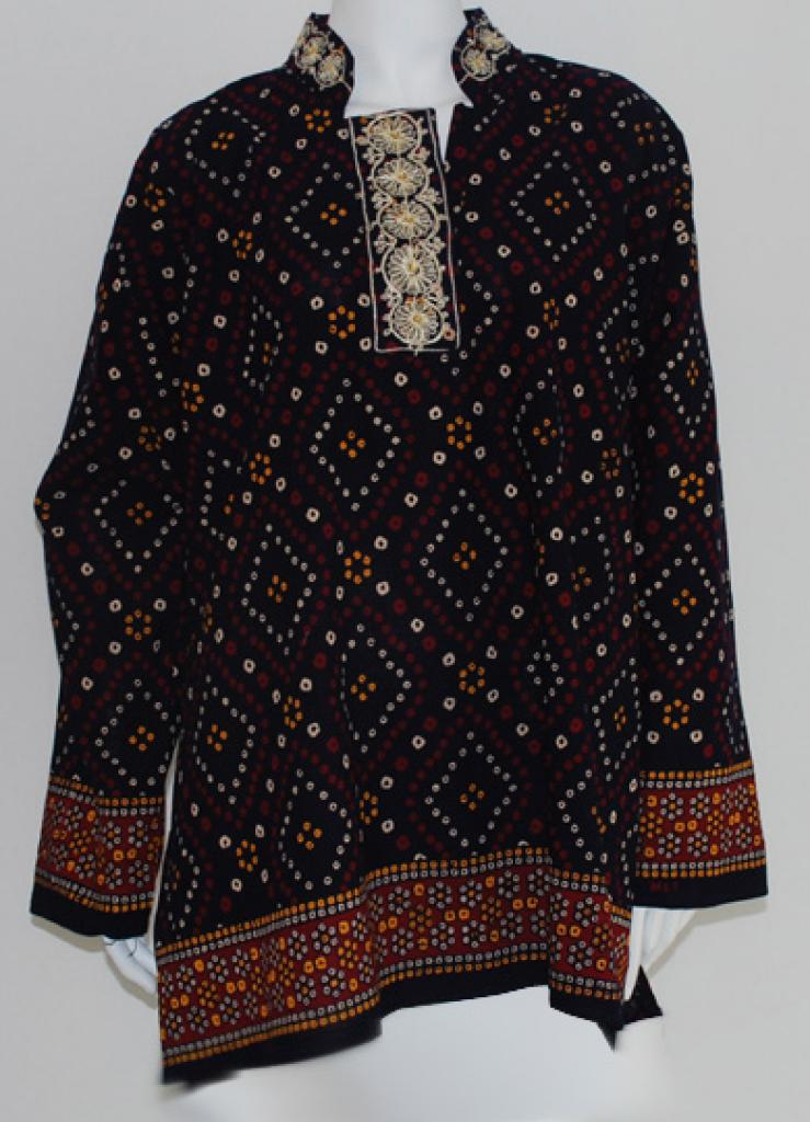 Embroidered long printed tunic  st540