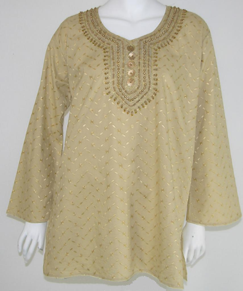 Chikan Embroidered Cotton Tunic st544