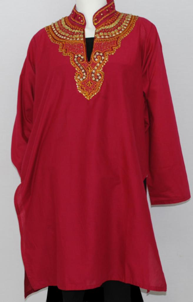 Embroidered Scrolls Cotton Tunic Top  st556