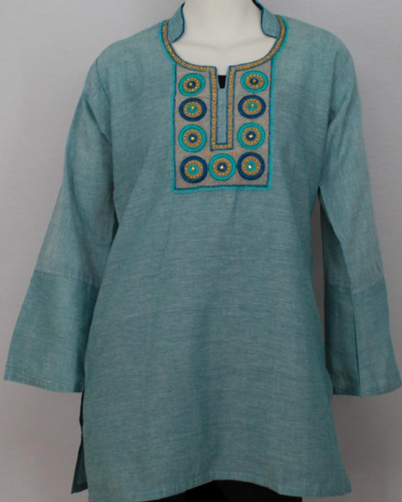 Embroidered Cotton Tunic Top st557