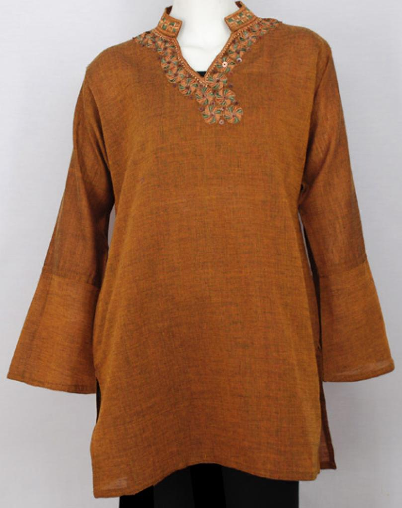 Embroidered Flowers Cotton Tunic Top  st558