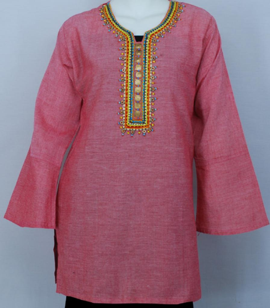 Embroidered Cotton Tunic Top  st559