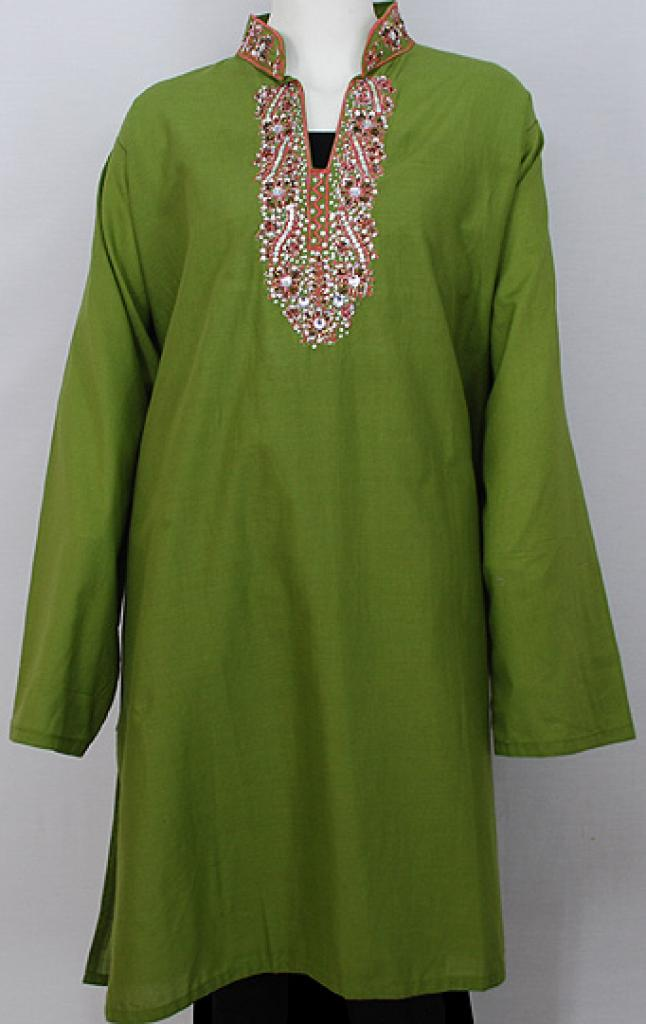 Embroidered Cotton Tunic Top st561