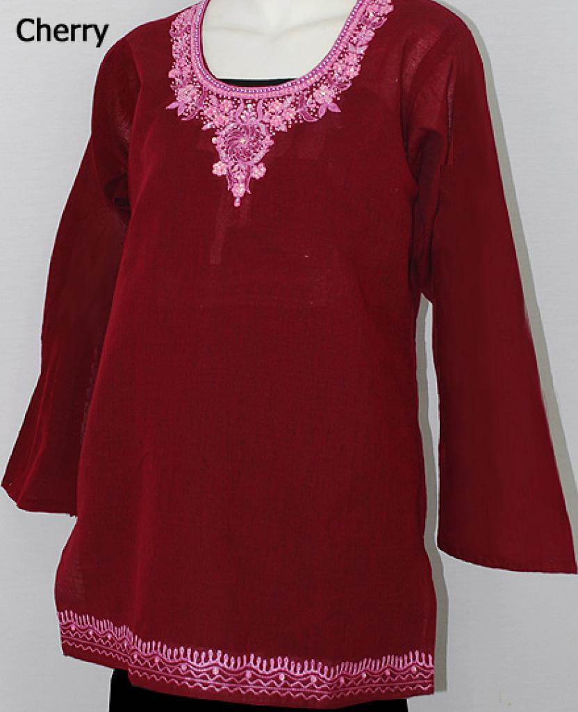 Embroidered Cotton Tunic Top st565