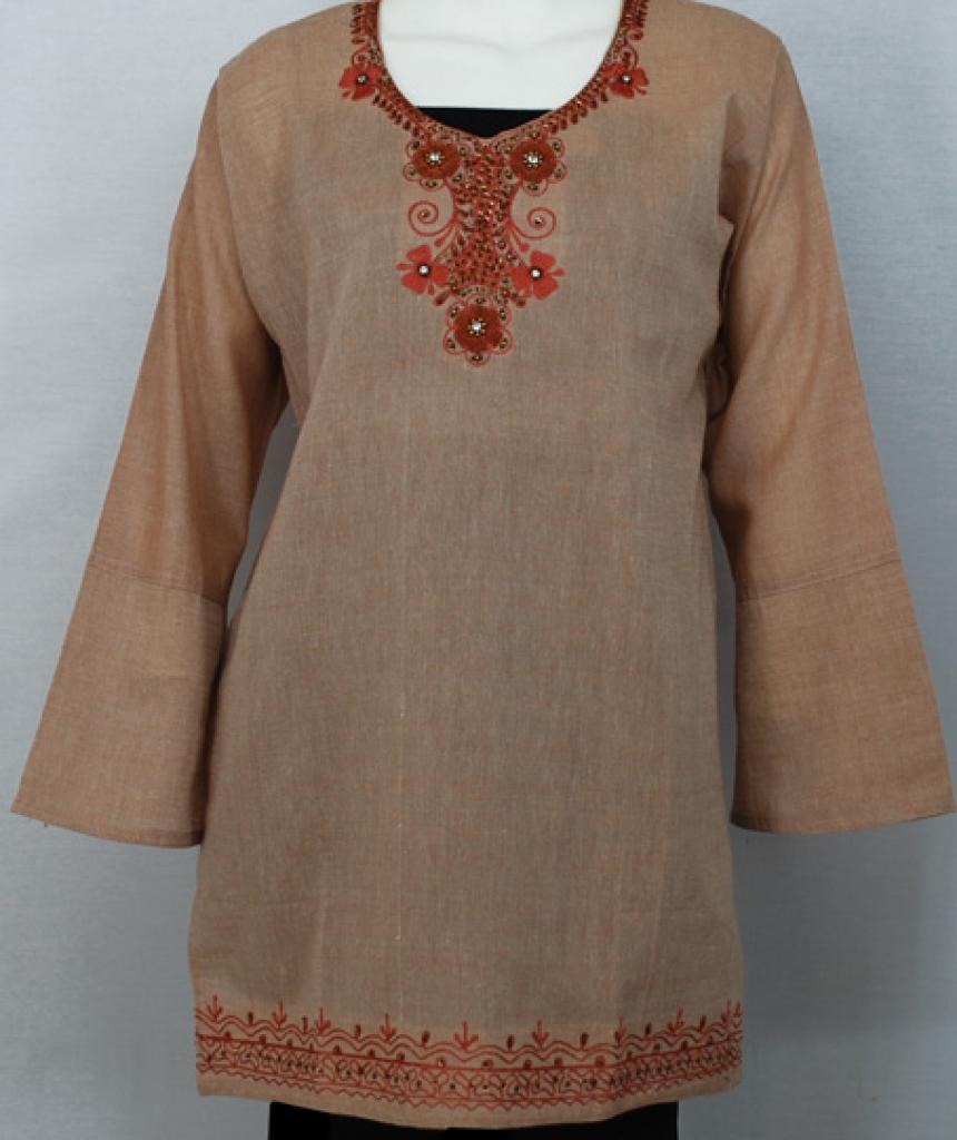 Floral Embroidered Cotton Tunic Top  st566