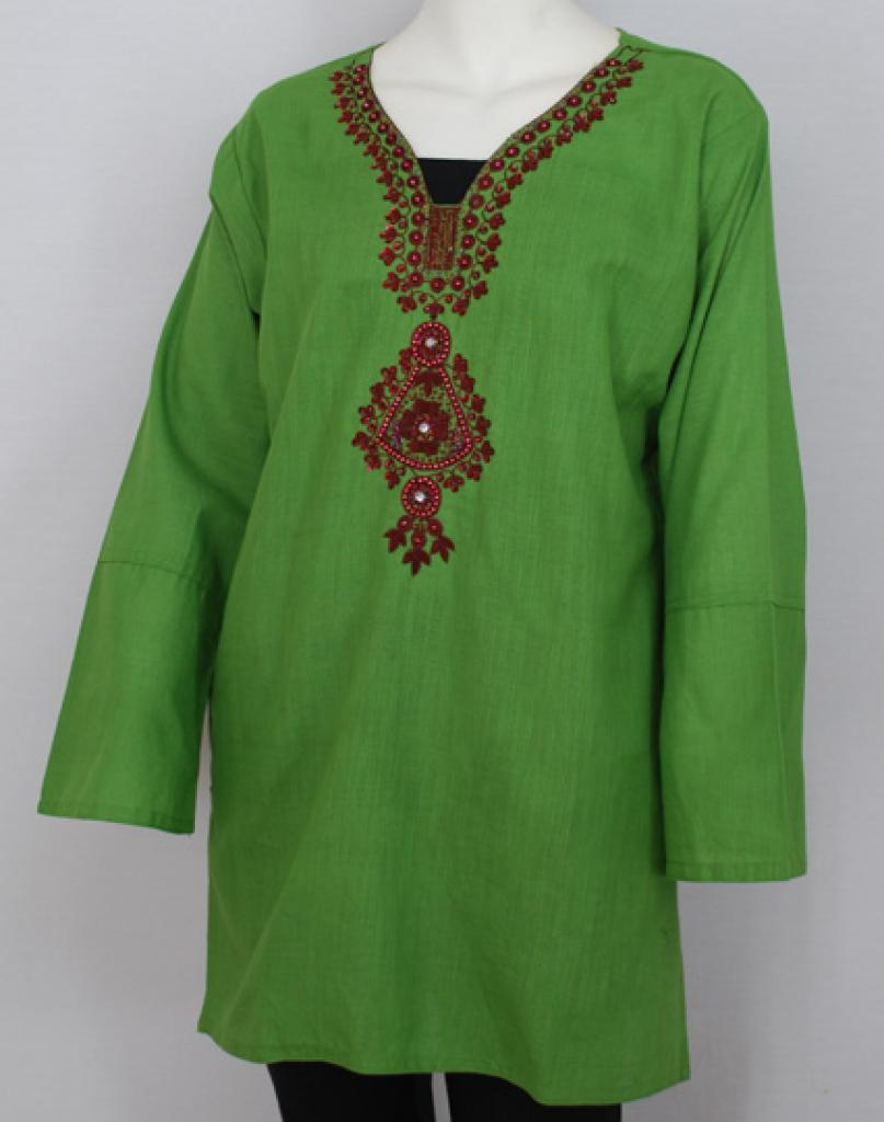 Floral Motif Embroidered Cotton Tunic Top st568