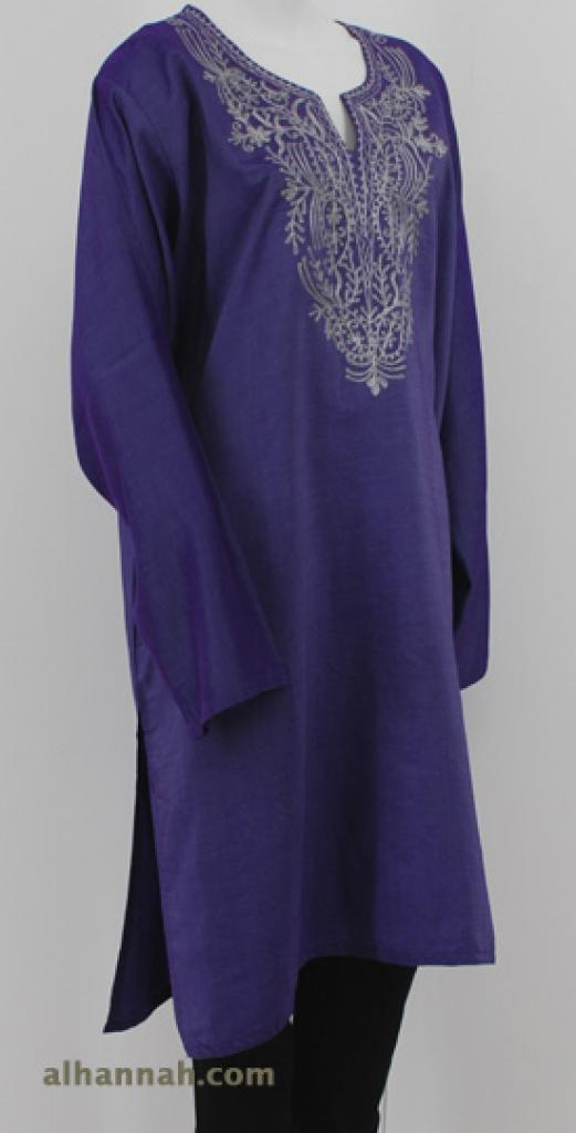 Iridescent Satin Embroidered Tunic  st583