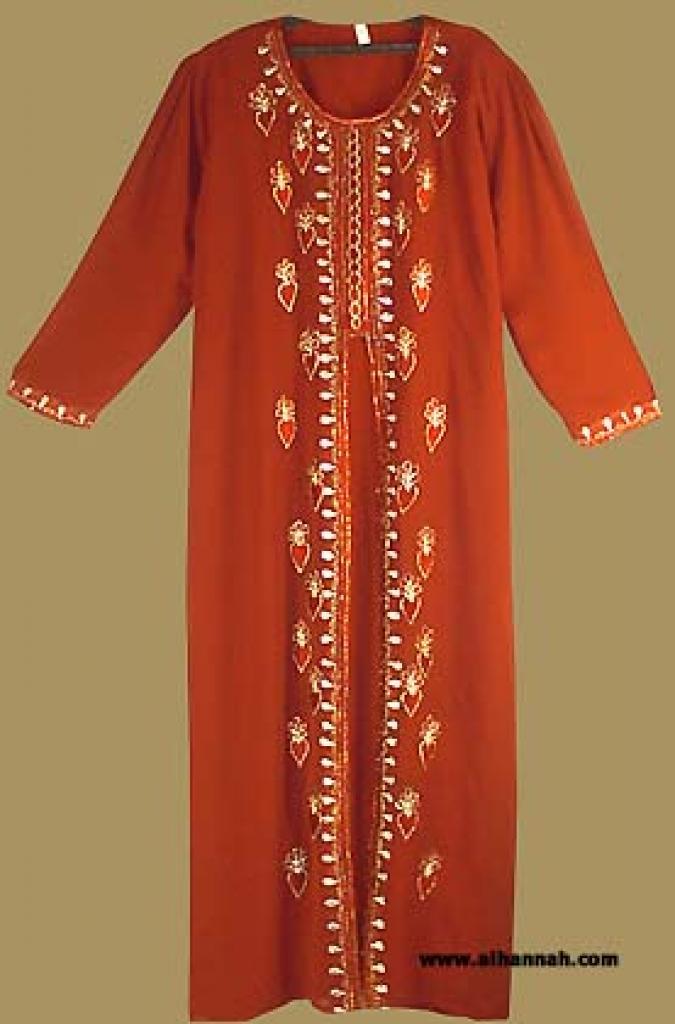 Arabian Thobe with Embroidered Chiffon Overlay th540