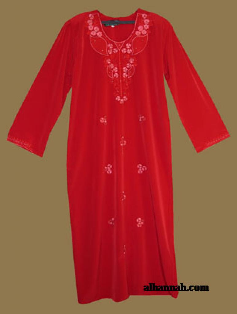 Embroidered Arabian Thobe with Rhinestone Accents th580