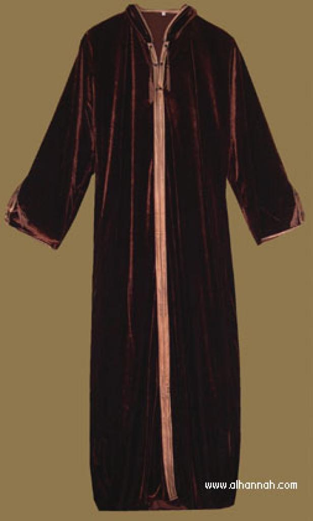 Hooded velveteen Moroccan style thobe th591