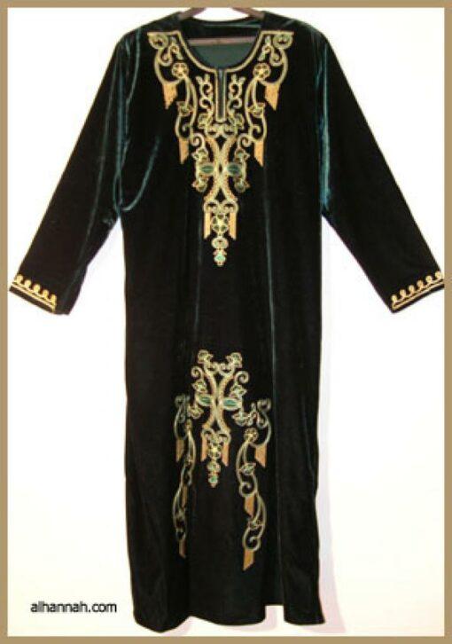 Embroidered Arabian Velveteen Thobe  th596