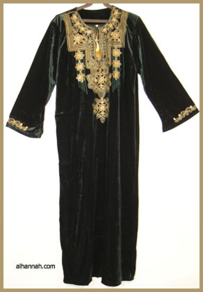 Embroidered Arabian Velveteen Thobe  th598