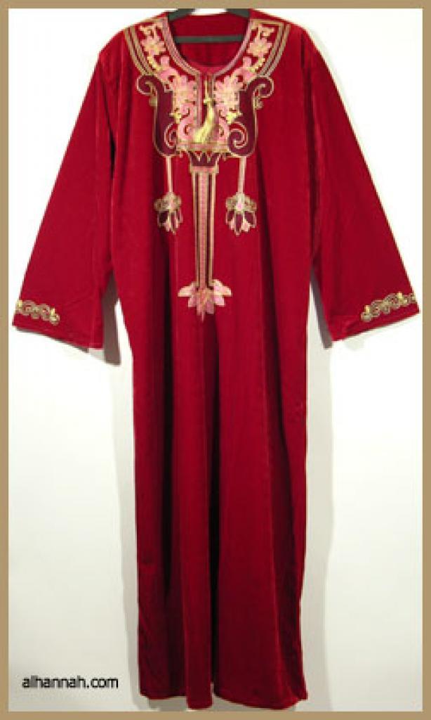 Embroidered Arabian Velveteen Thobe  th601