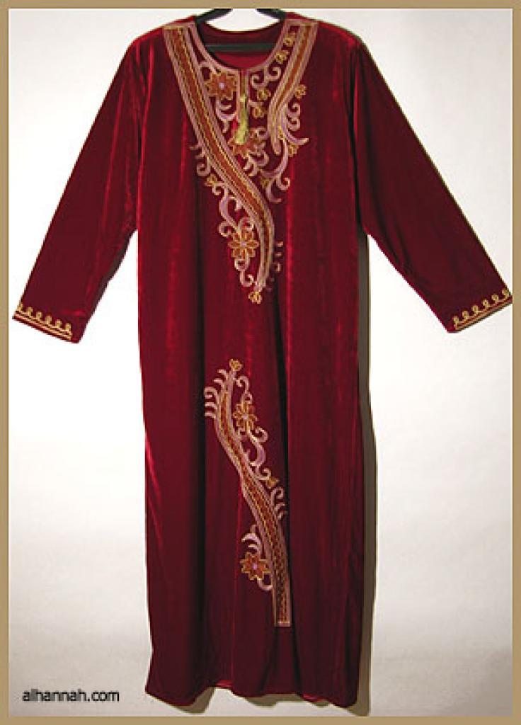Embroidered Arabian Velveteen Thobe  th602