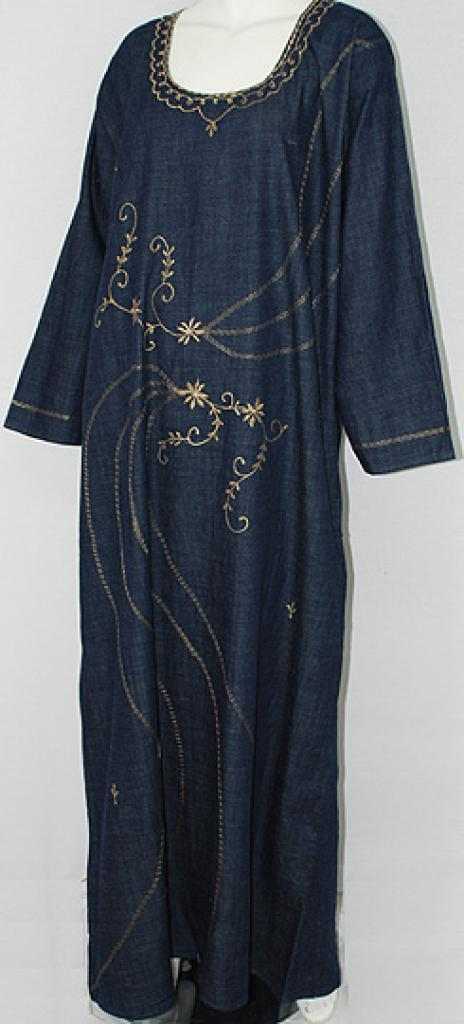 Floral Embroidered Denim Thobe th689