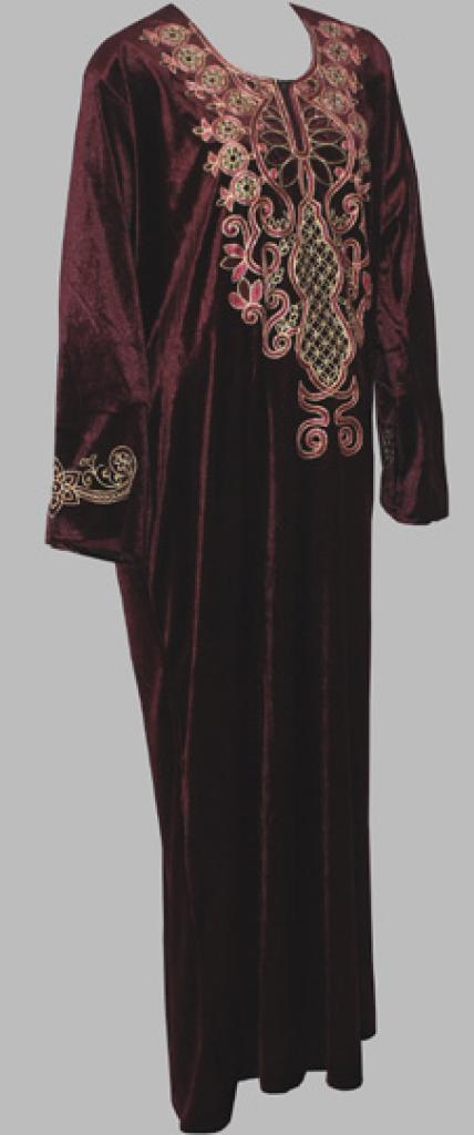 Floral Embroidered Arabian Velveteen Thobe th691