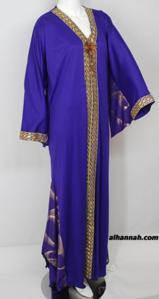 Embroidered Stretch Satin Arabian Thobe th720