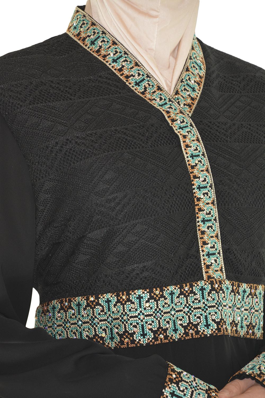 Aqua embroidery Black Abaya close up ab670