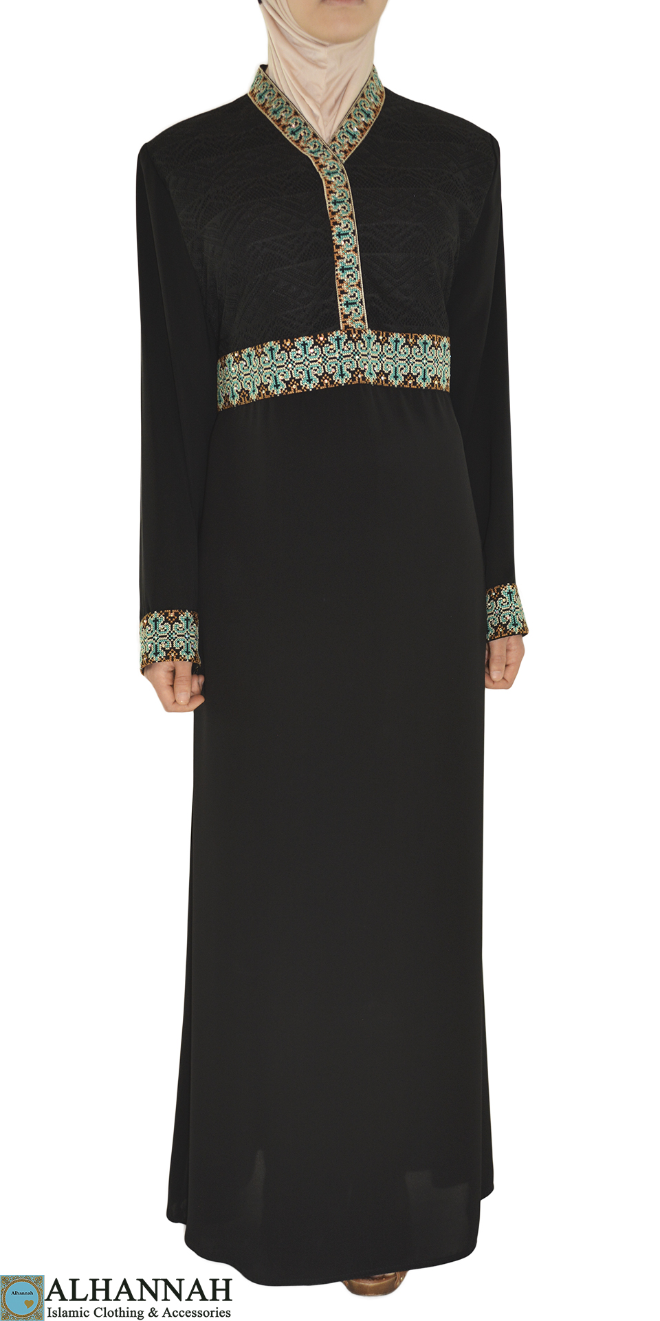 Aqua Embroidery Black Abaya ab670