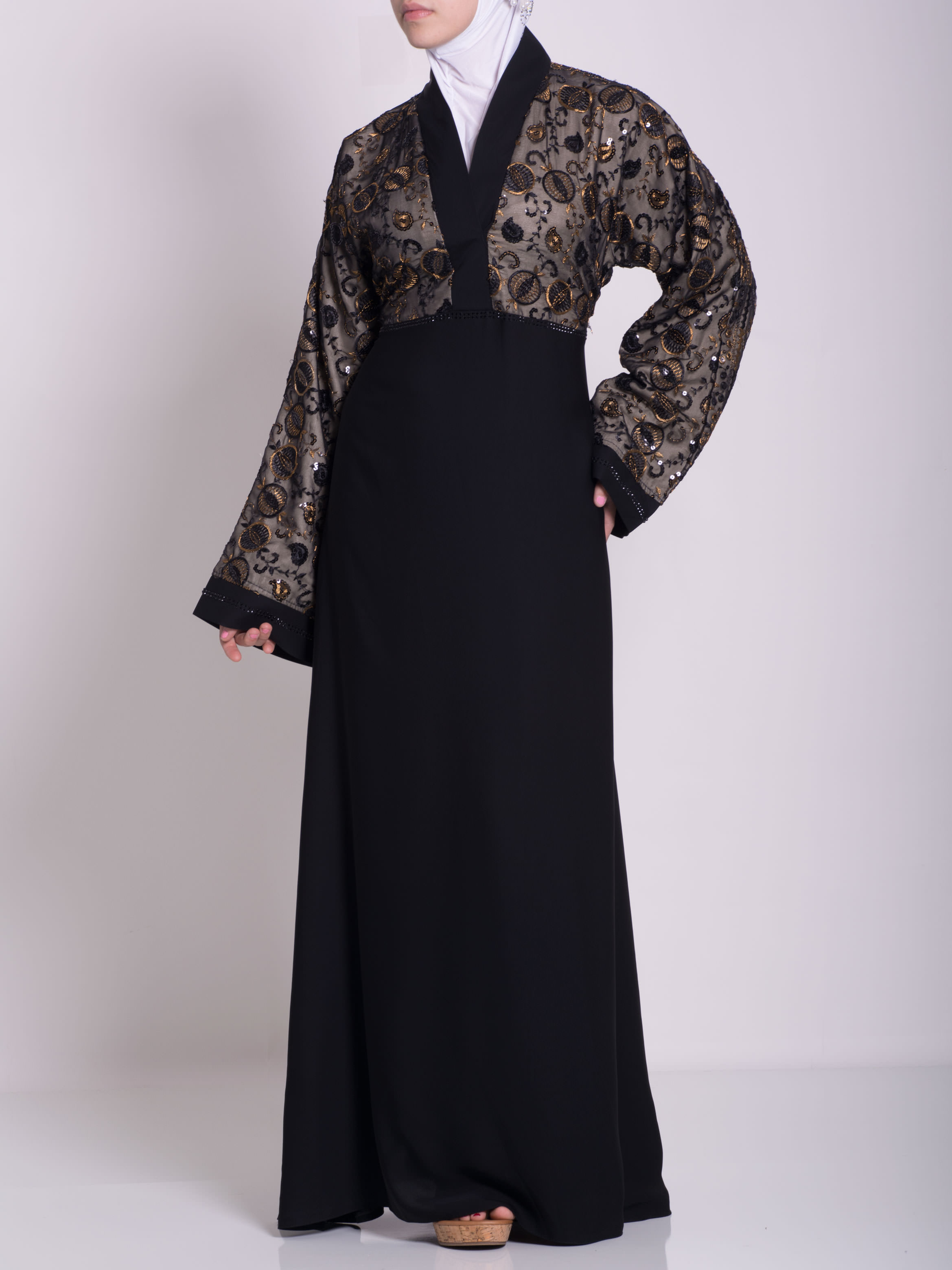 Chikan Abaya - Pull Over with Sequins ab658 (22)