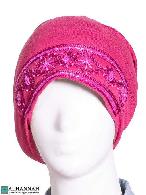 Hijab Underscarf in French Rose Close Up Beading