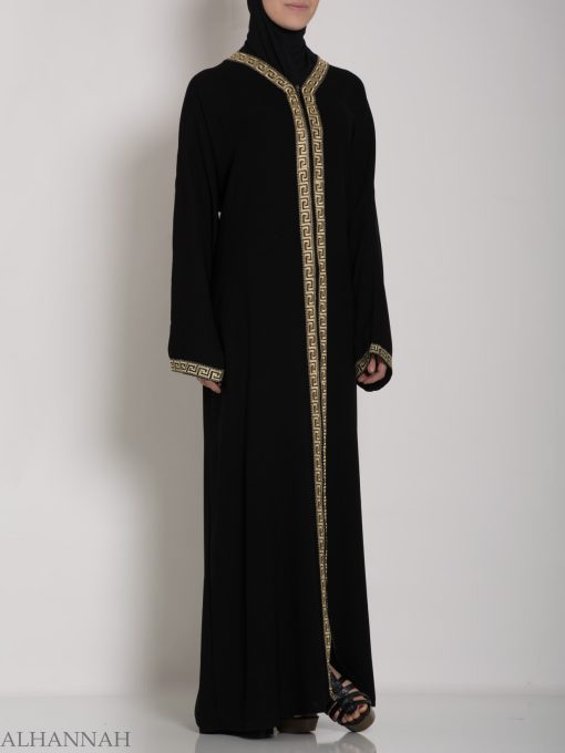 Khalije Abaya with Gold Embroidery ab641 (2)