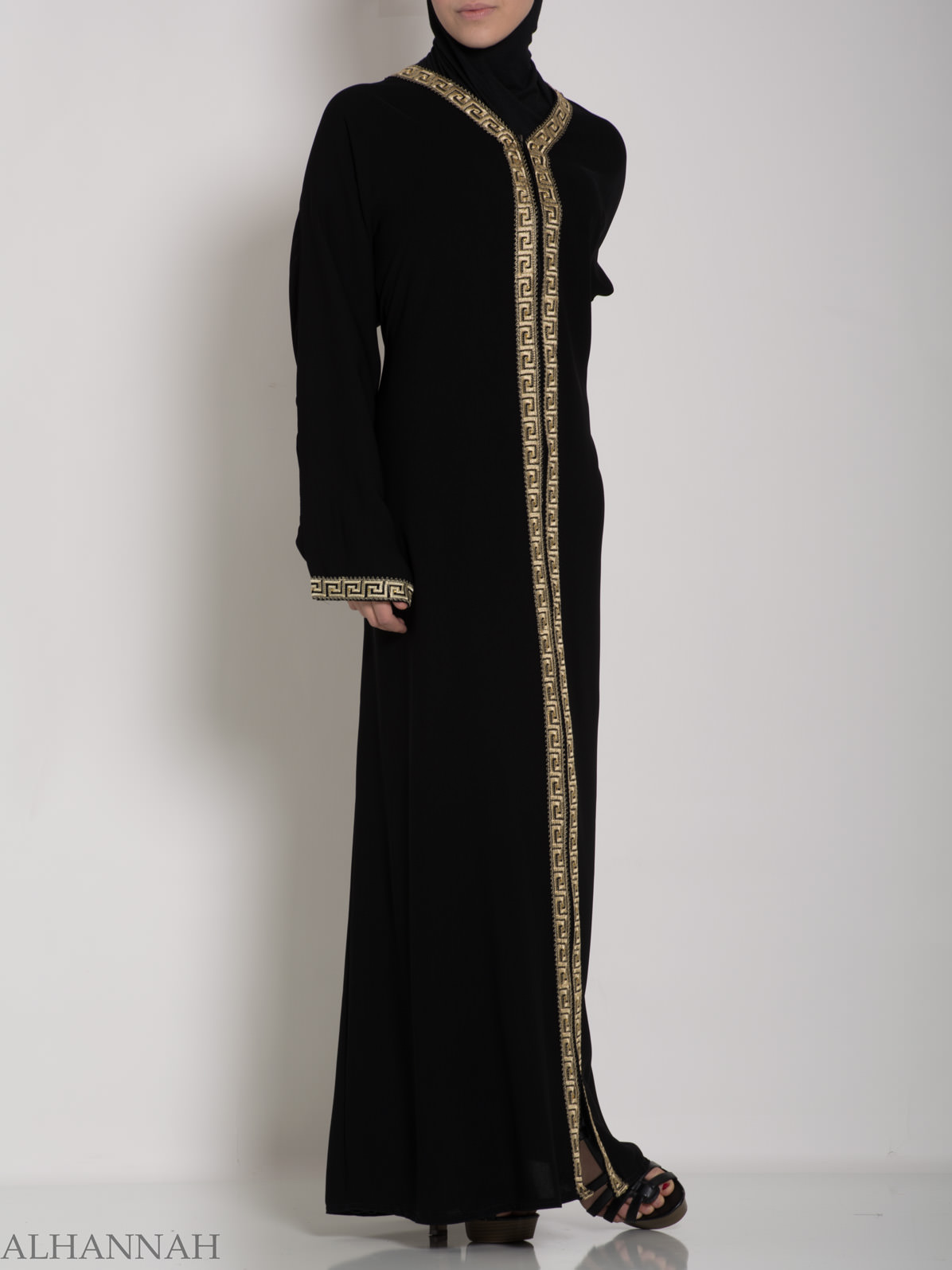 Khalije Abaya with Gold Embroidery ab641 (3)