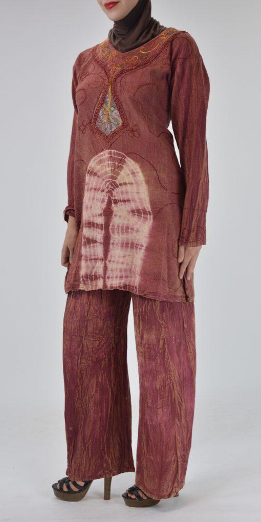Tie-Dye Crushed Cotton Vintage 70s Salwar Kameez 3