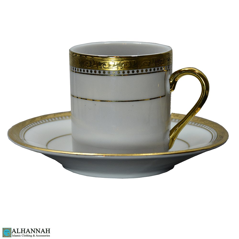 Turkish Coffee Cup Gold and White
