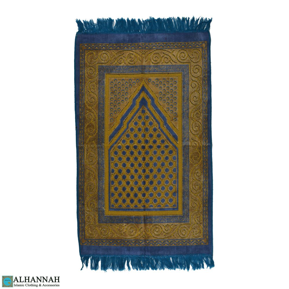 Islamic Prayer Rug with Scroll Border