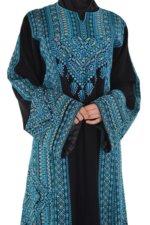 Blue Palestinian Dress Front Closeup
