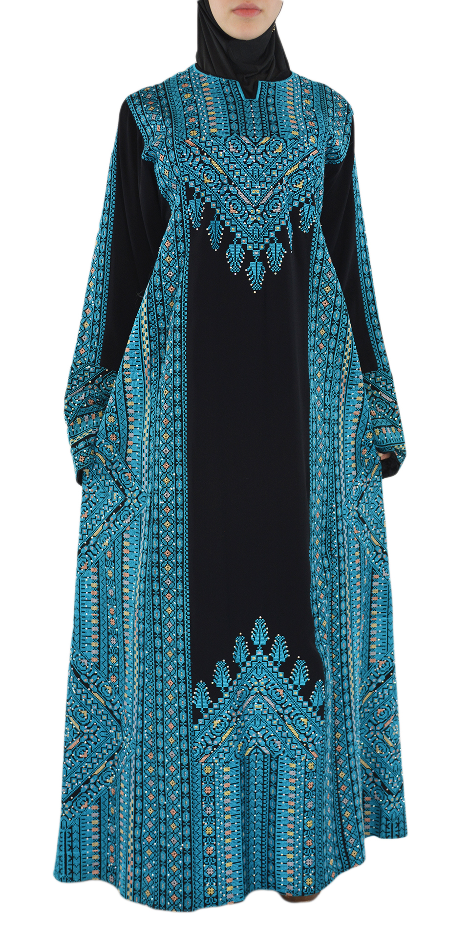 Blue Arabian Embroidered Dress Front Shot Spread