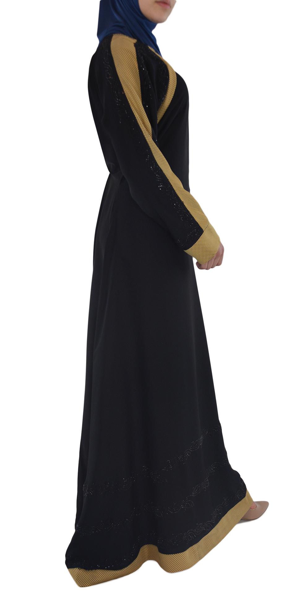Shirin - Black and Tan Abaya Side
