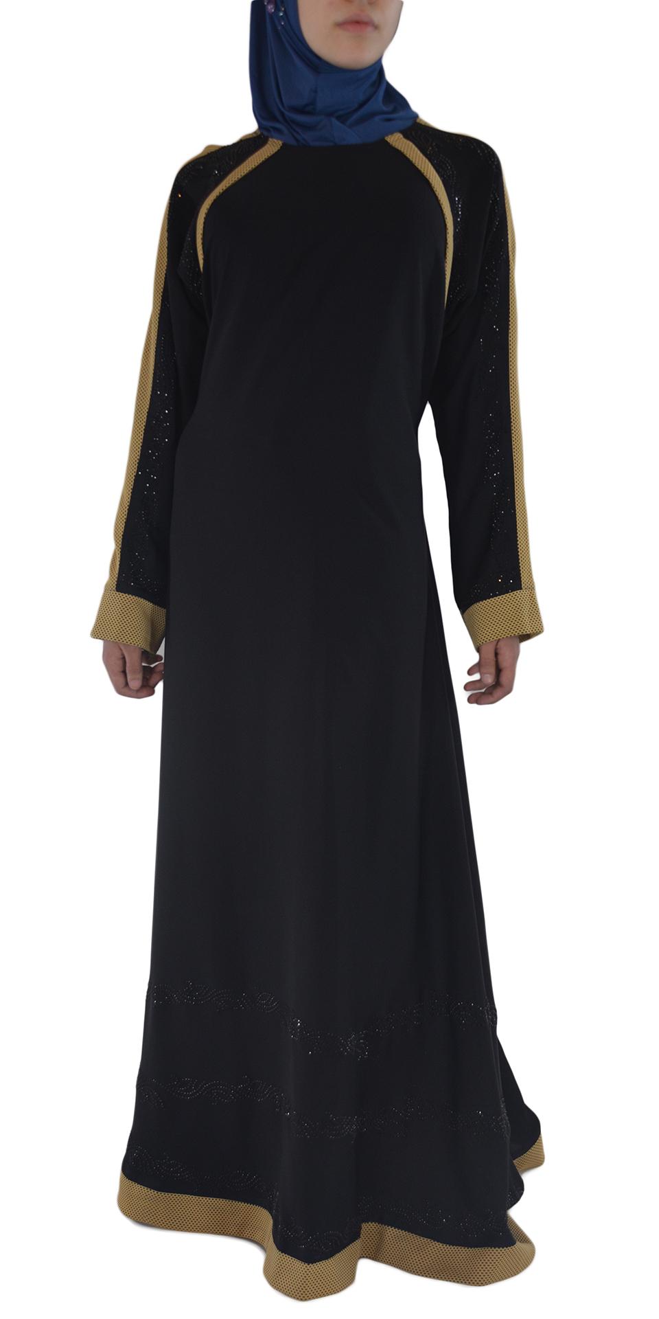 Shirin - Black and Tan Abaya Front 2