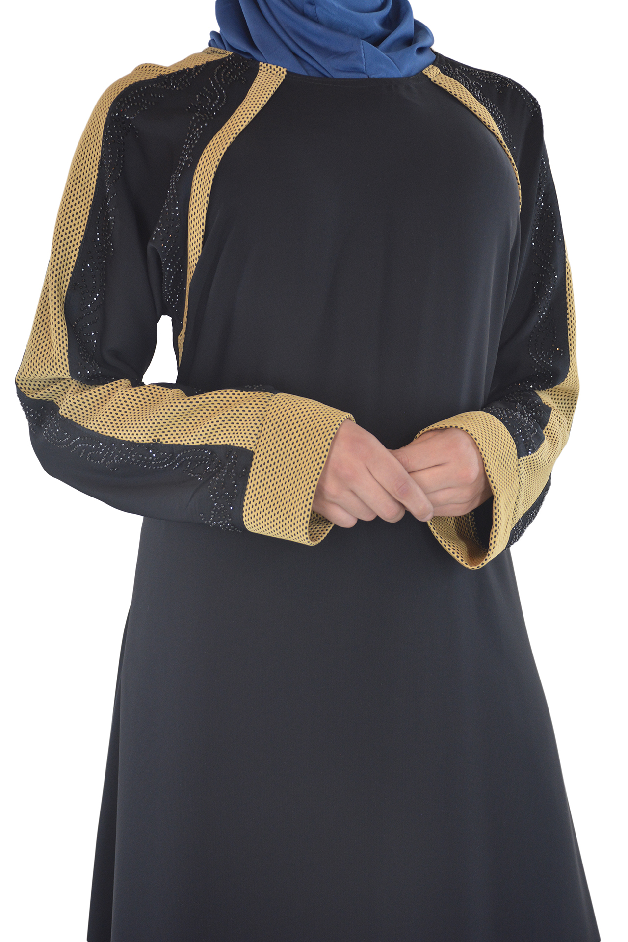 Shirin - Black and Tan Abaya Close up 2