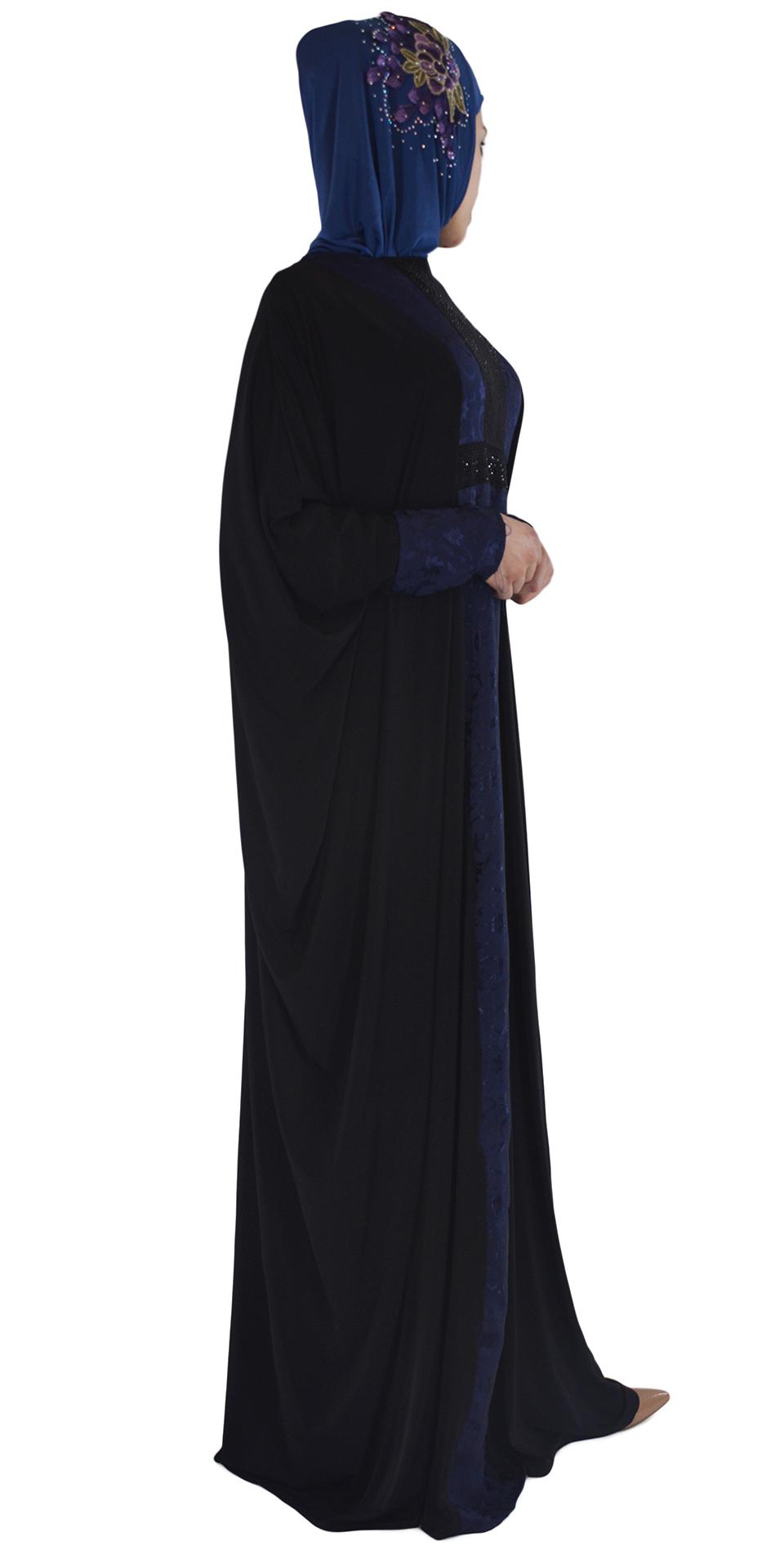 Hania - Black and Navy Abaya Side 3