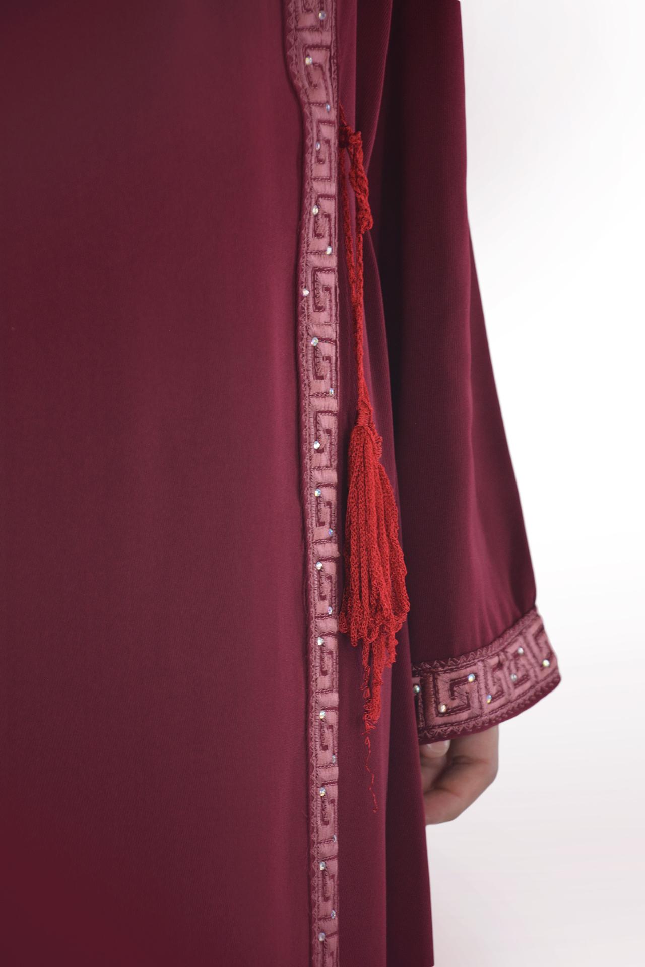 Khalila - Maroon Wrap-Around Abaya Close up 2