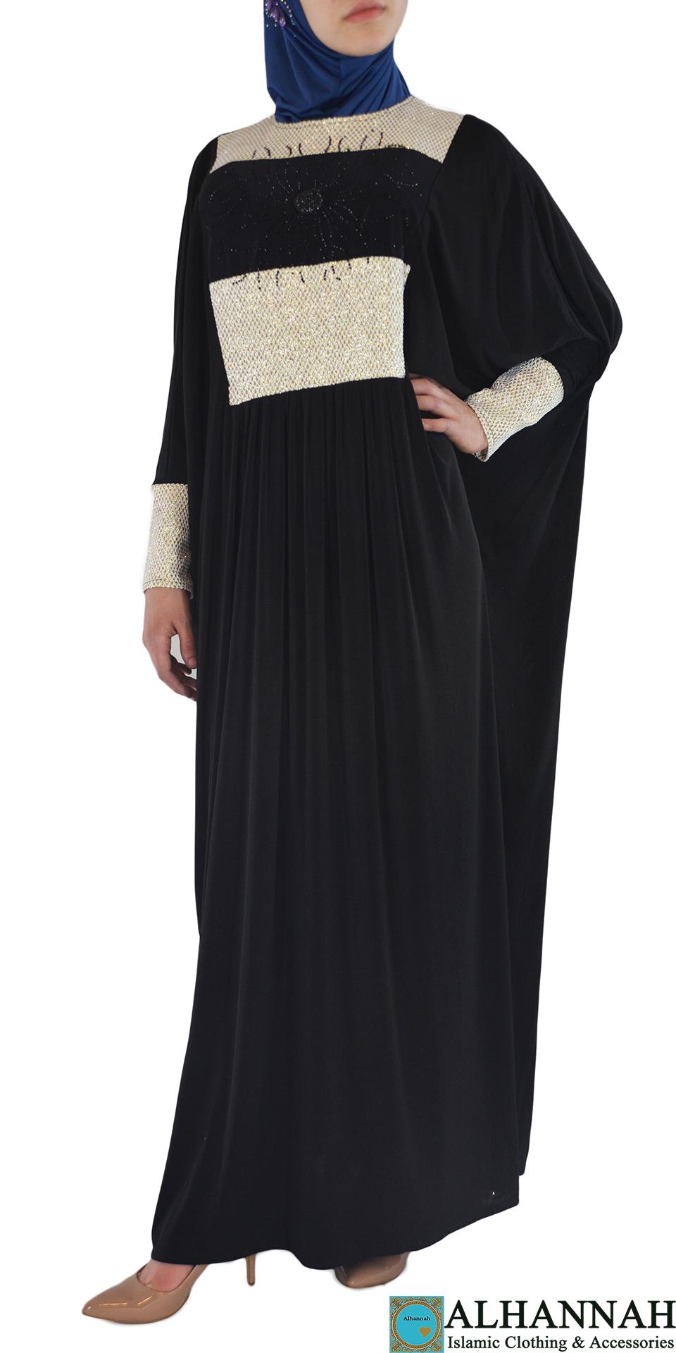 Nazli - Honeycomb Draping Abaya Front