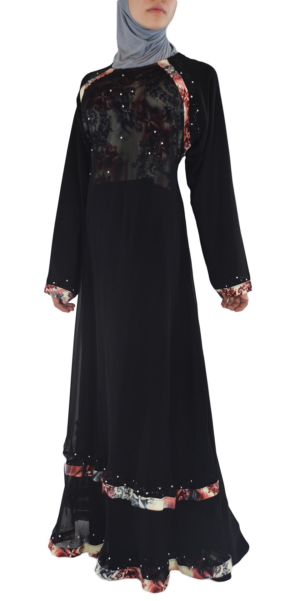 Nousha - Black and Tan Chic Abaya Front 2