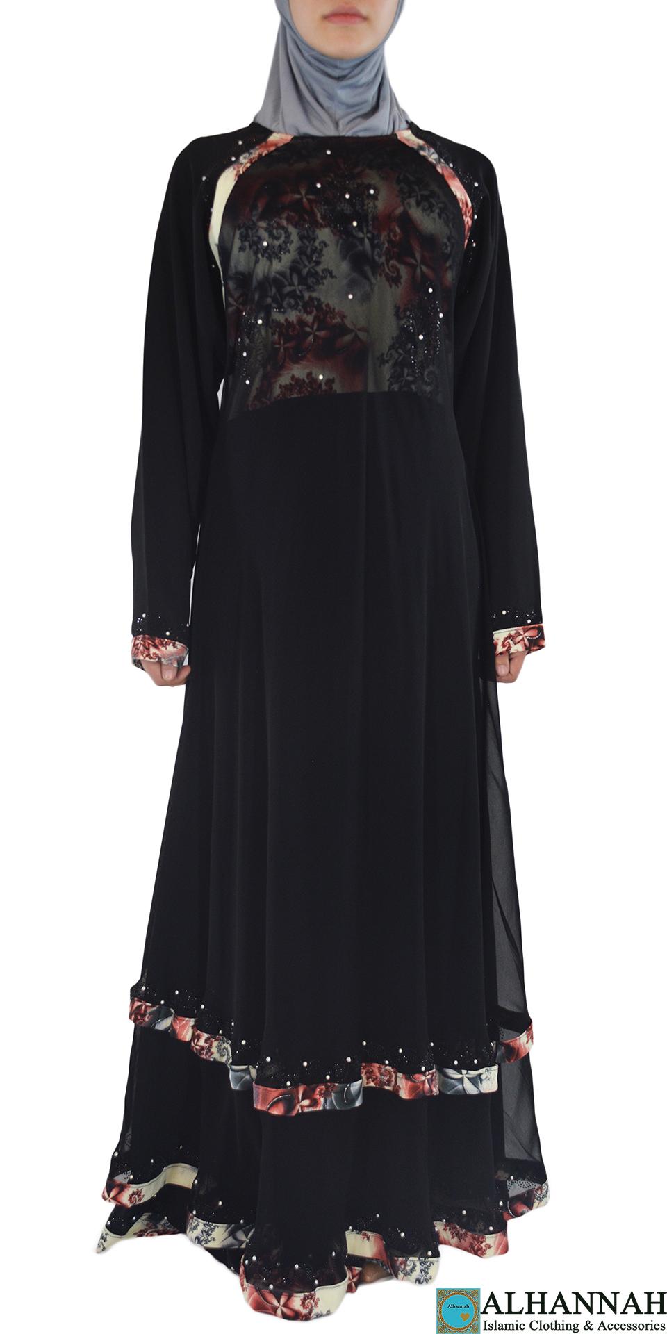 Nousha - Black and Tan Chic Abaya Front