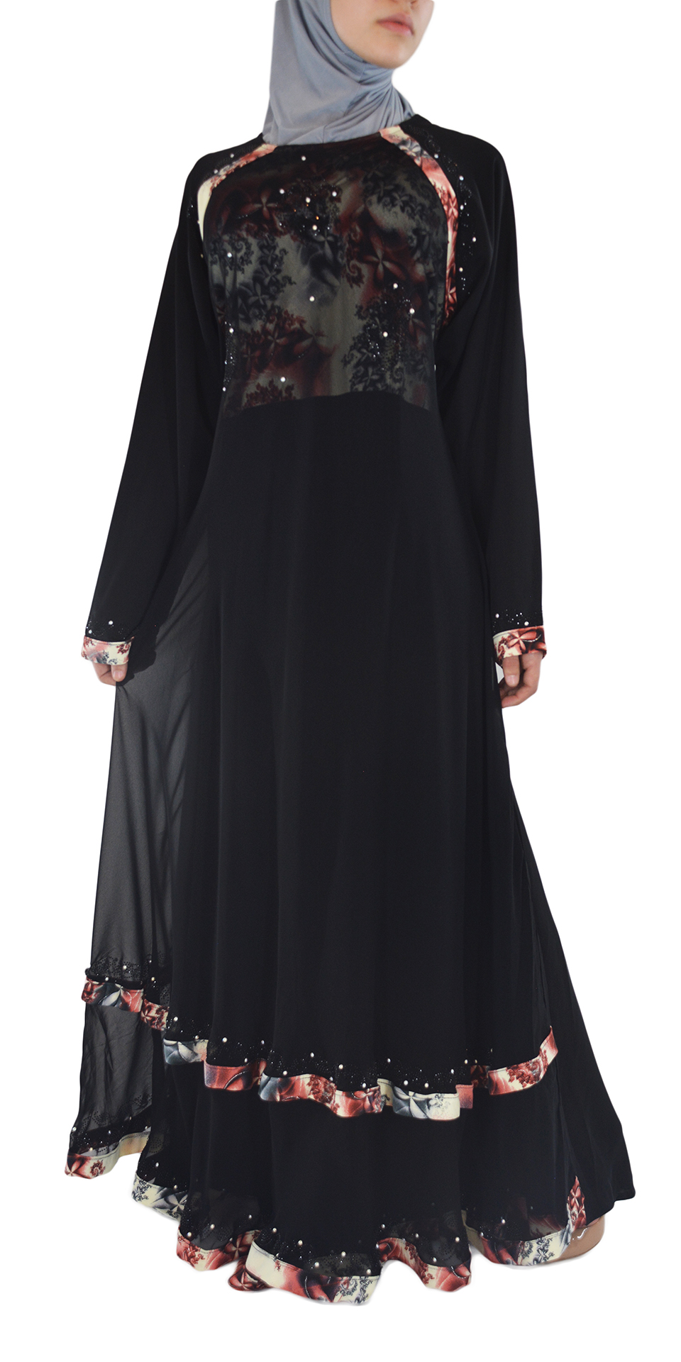 Nousha - Black and Tan Chic Abaya Spread