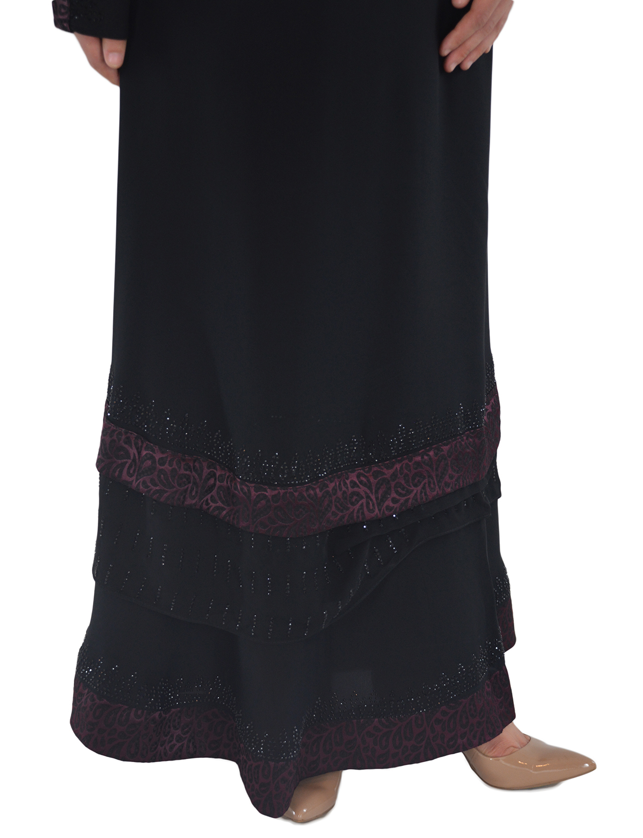 Pervin - Paisley, Purple and Black Abaya Close up 2