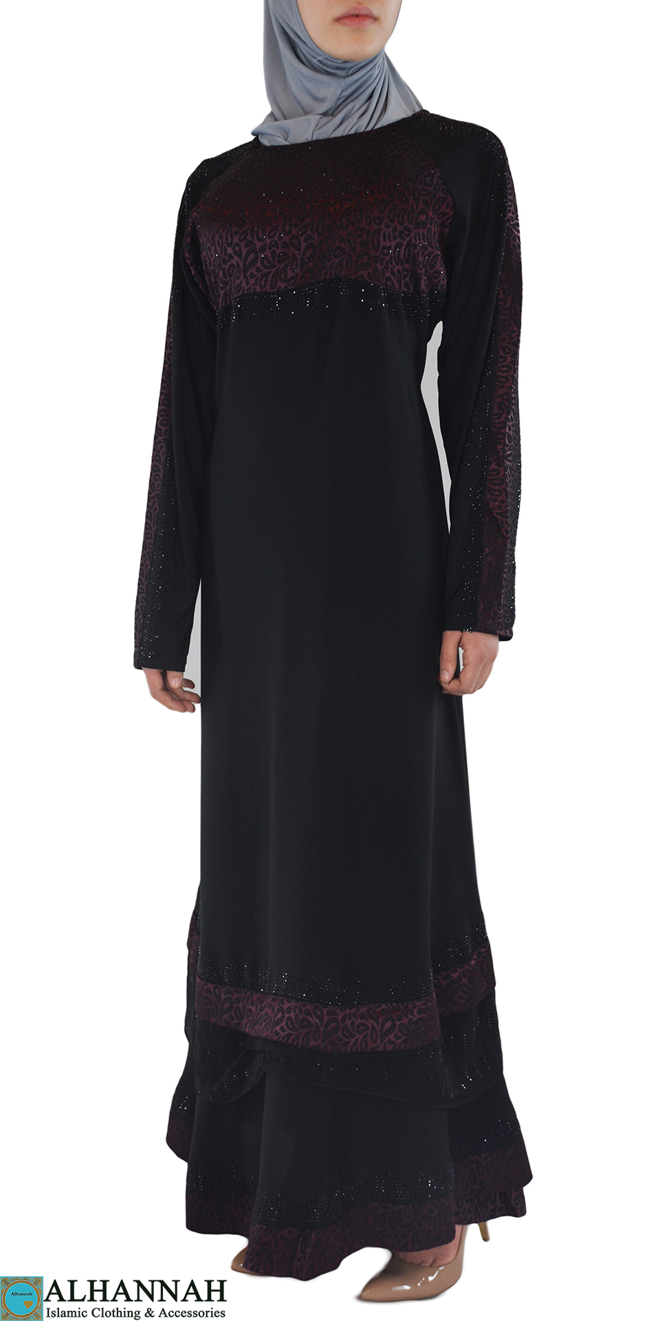 Pervin - Paisley, Purple and Black Abaya Front 2