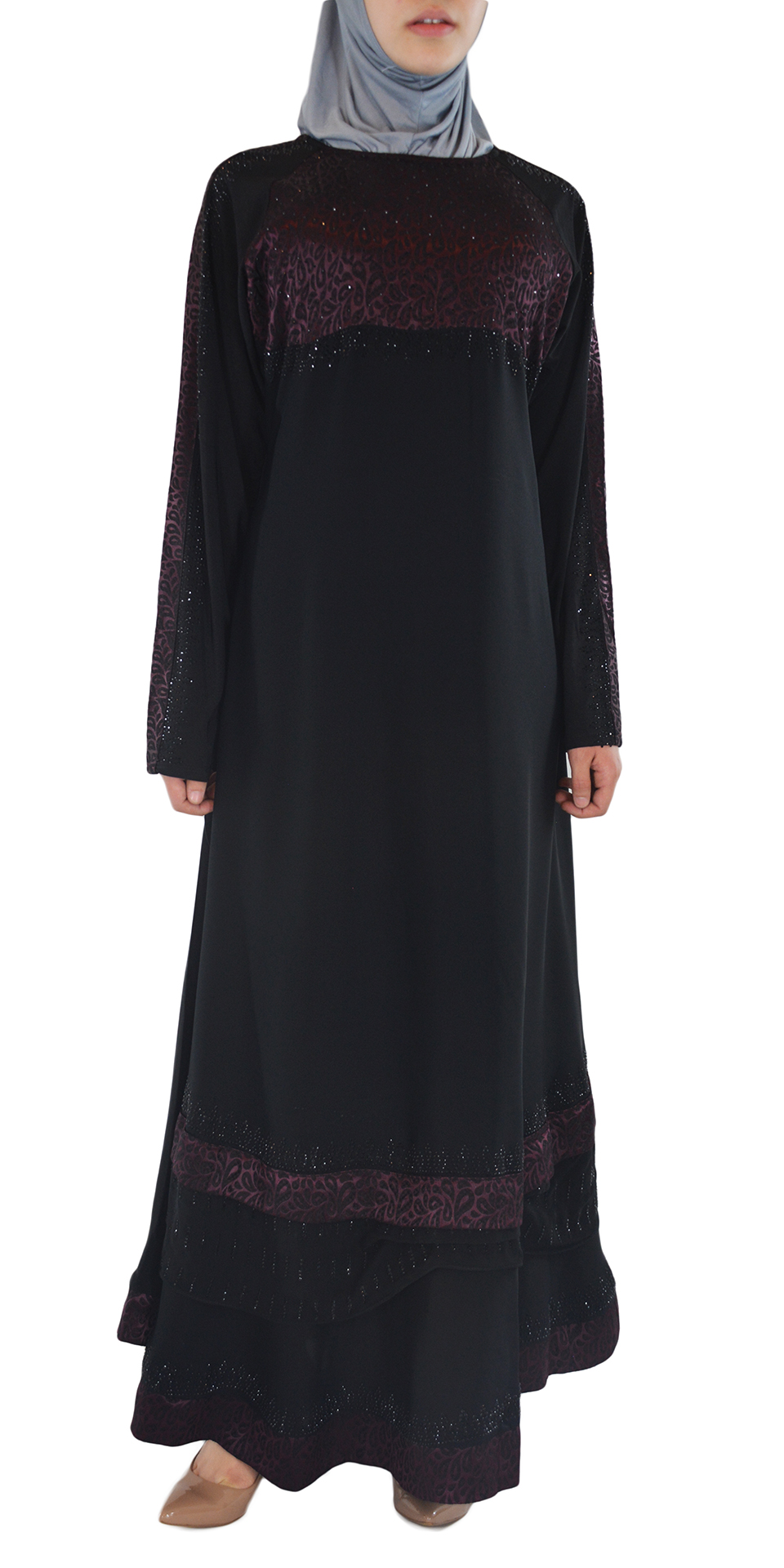 Pervin - Paisley, Purple and Black Abaya Front