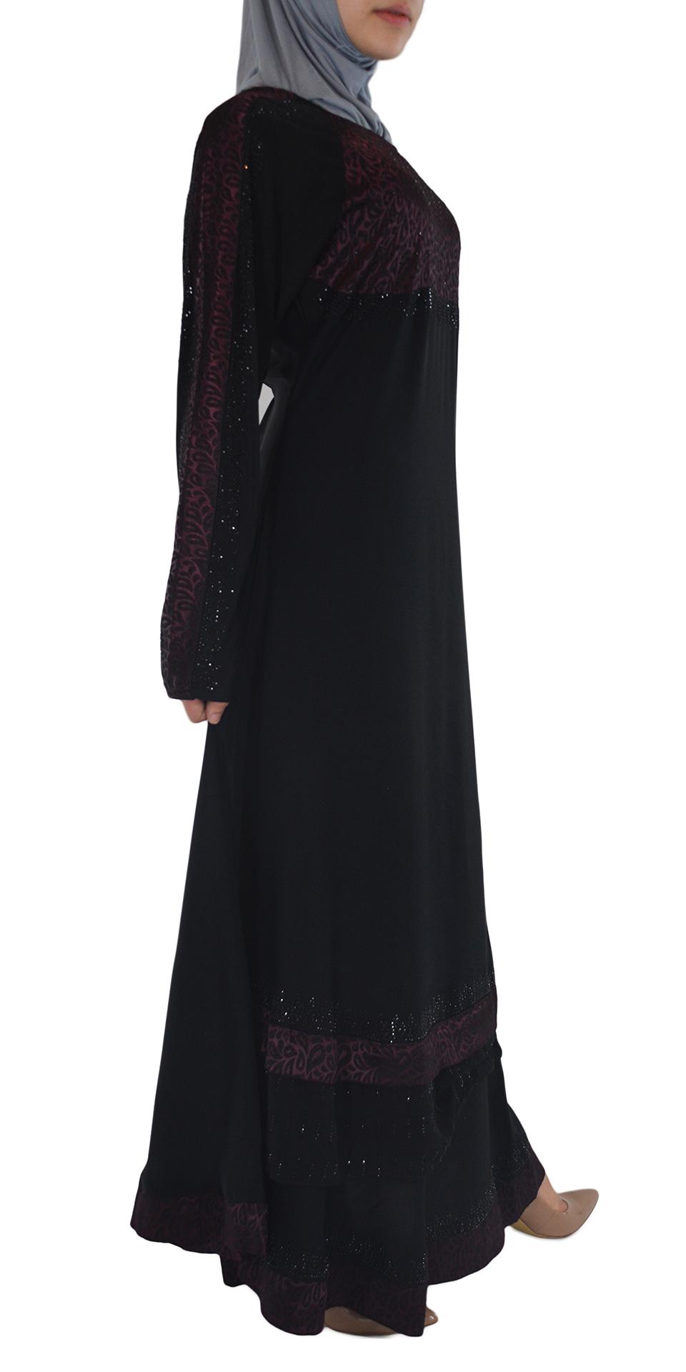 Pervin - Paisley, Purple and Black Abaya Side