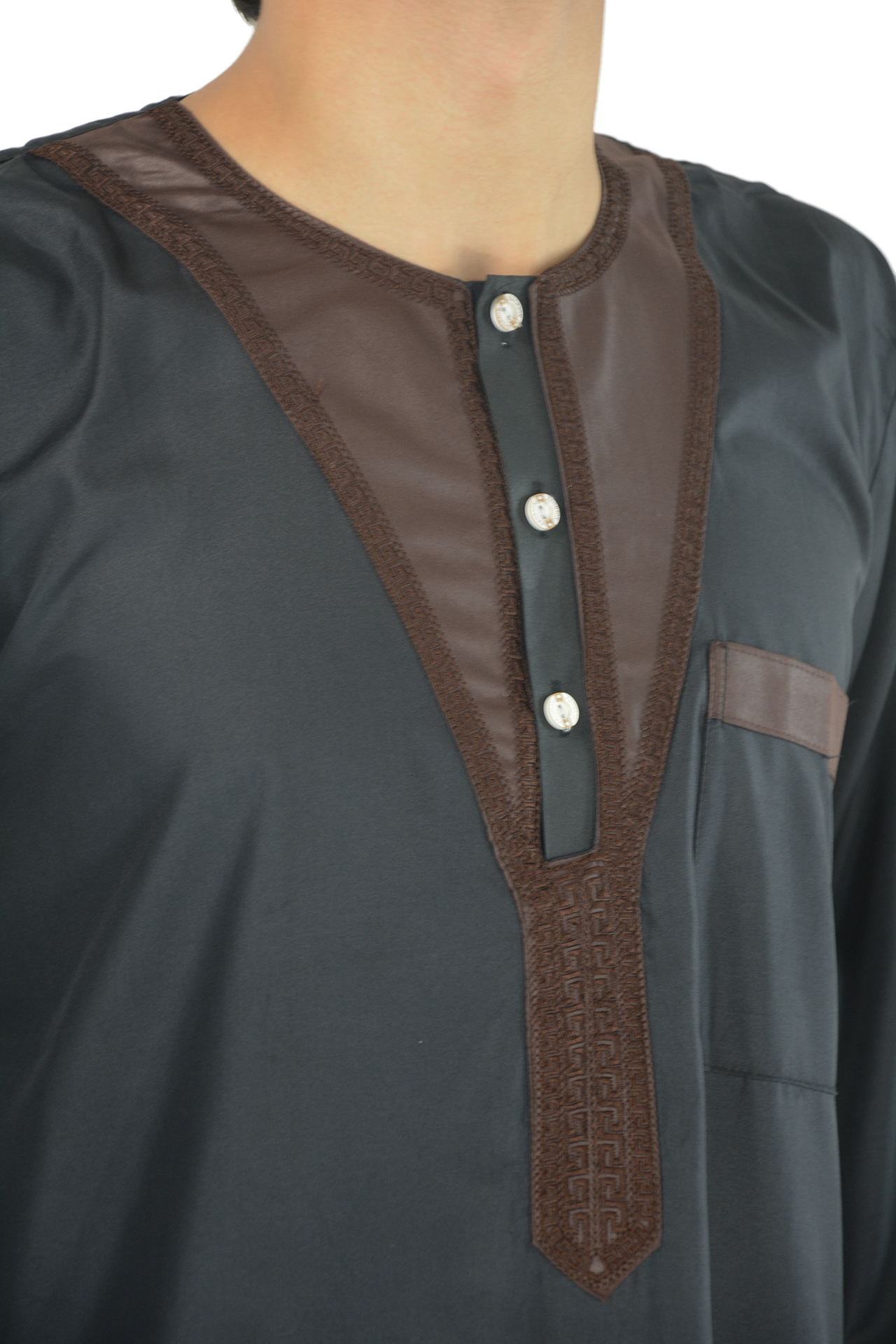 Sleek Black and Brown Thobe with Frontal Embroidery 2